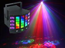 4-in-1 Light Effect: Gobo Derby, UV, Strobe and RG mini laser. IR remote.