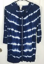 Zenergy by Chicos Women's Long Zip Up Hoodie Size 0 Blue White Hooded Top