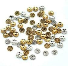 100Pcs Silver Gold Plated Flower Beads End Caps For Jewelry Making 7x2mm