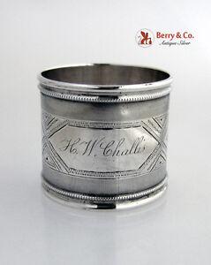 Geometric Beaded Border Napkin Ring Coin Silver 1870