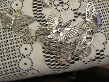 """Tarnished Look Silver Tone Butterfly Bib Chain Necklace - 18-21"""" long"""