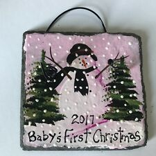 2017 BABY'S FIRST CHRISTMAS Ornament Pink Hand Painted SLATE Personalized Custom