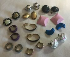 Vintage Clip-On Earrings Lot - 11 Pairs - Enamel, Beads & More - Free Shipping