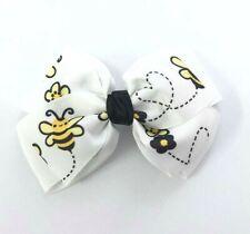 Bee Printed White Hair Bow Girls Hair Accessories Grips Slides Bows