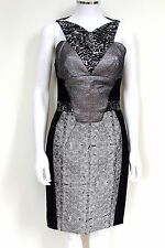 £1872 New Antonio Berardi Metallic Silver Combo Body-Con Dress 42 uk 10