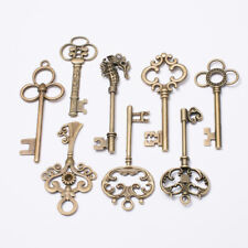 8 Large Vintage Antique Royal Skeleton Key Pendant Old Look Jewelry Craft Decor