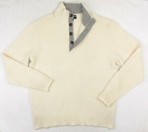 GANT 100% MERINO WOOL Men's Chunky Knit Off White Button Neck Jumper XXL 2XL