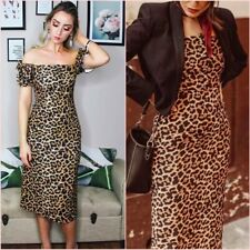 SALE  Zara Leopard Midi Pencil Short Puff Sleeve Body Dress XS UK 6 US 2 ❤