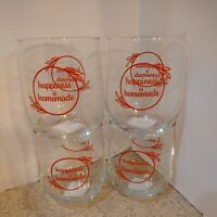 """Set 5 Glass Juice Beverage Glass Tumblers 16oz  """"Happiness Is Homemade"""" NEW"""