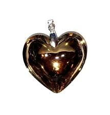 PENDANT/NECKLACE ST Glass Crystal Large Beige FLUID TAN HEART