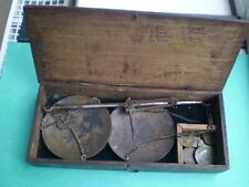 A Vintage Apothecary BEAM BALANCE Scales with weights in wooden box