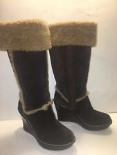 2784f9cf946e UGG Aubrie Sz 8 Brown Suede Tall Leather AUBRIE Wedge Heel Boots