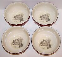 STUNNING 222 FIFTH SET OF 4 ANDOVER RED CHRISTMAS HOLIDAY SOUP/CEREAL BOWLS