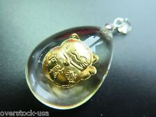 NEW 999 Gold Bless Kindness Bring Wealth Cat Man-made Crystal Pendant