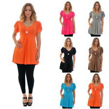 New Ladies Plus Size Top Womens T-Shirt Elasticated Tie Back Smock Nouvelle