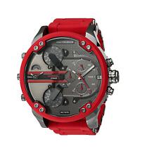 New Diesel Mr. Daddy 2.0 Gunmetal Red Chronograph 4 Time Zone Men's Watch DZ7370