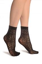 Black Geometrical Crochet Lace Ankle High Socks (SA002183)