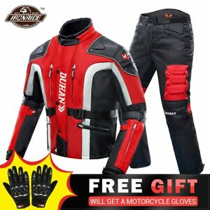 Cold Motorcycle Jacket + Pants Moto Suit Touring Clothing Protective Gear Set