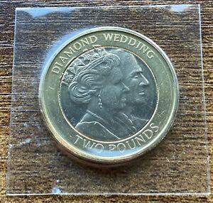 2007 Two Pounds £2 Coin Diamond Wedding QEII Gibraltar In Plastic