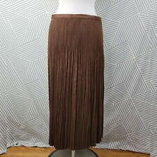 Coldwater Creek Maxi Skirt Size XL Petite Festival Faux Suede Pleated Long brown
