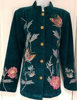 Womens Indigo Moon Teal Butterfly Floral Sequin Embroidered Chenille Jacket MNew