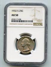 1932-S Silver Washington Quarter (AU50) NGC Rare!