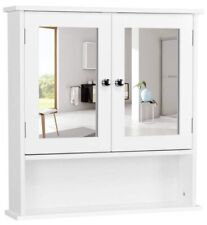 Bathroom Medicine Cabinet with Double Mirror Doors, Wooden Wall Mounted Cabinet