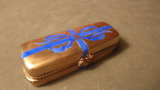 VINTAGE HAND-PAINTED PACKAGE GOLD/BLUE BOW BOX OF ROSES  ROCHARD LIMOGES TRINKET