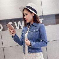 Women Fashion Long Sleeve Short Denim Jeans Casual Jacket Coat Tops Outwear
