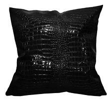pd1001a Black Faux Crocodile Glossy Leather Cushion Cover/Pillow Case*Custom Siz