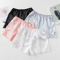 Lady Satin Knickers Shorts Panty Underpants Under Briefs Lace Bow Faux Silk Cosy