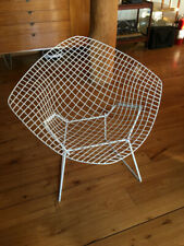 Vintage Knoll Bertoia Iron Diamond Lounge Chair White Mid Century Modern MCM