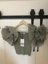 ZARA Green Knit Crop Top Organza Ruffle Sleeves MEDIUM BNWT