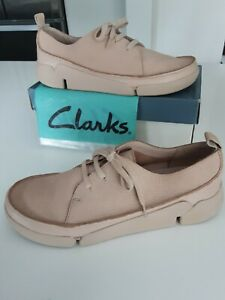 Clarks TRIGENIC Beige Soft Leather 'Tri Clara' Lace-Up Casual Shoes size 7 wide