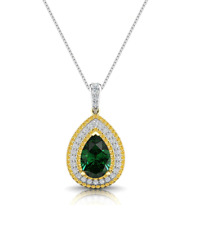 9Ct Water Drop Emerald Diamond Citrine Necklace In 14Carat Gold Over Sterling