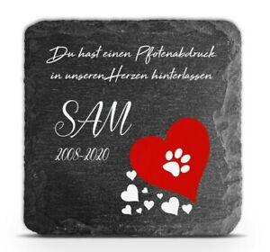 Tiergrabstein Gedenktafel rotes Herz Schiefer Stein Gedenkplatte Katze Hund 2021