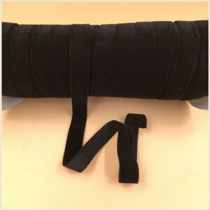 "5/8"" 16MM Black nylon stretch elastic velvet ribbon single face 5yards"