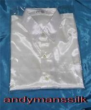 Silk Patternless Long Sleeve Casual Shirts & Tops for Men