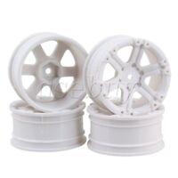 4pcs White Plastic 12mm Joints 6-Spoke Wheel Rims for RC1:10 On-road Racing Car