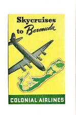 Vintage Airline Luggage Label COLONIAL AIRLINES Skycruisers to Bermuda
