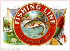 1919 Fishing Line Fish Trout Smoke Vintage Cigar Tobacco Box Crate Label Print