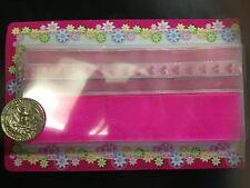 pink heart stripe  girl hair pony tail tie cheerleader grosgrain Ribbon Bow