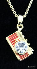 """Austrian Crystal Red Gold Camera Necklace Adjustable 18"""" Chain Photographer"""