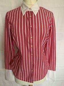 TOMMY HILFIGER UK12 US8 Pink & White Stripe Cotton With Stretch Shirt Vgc