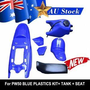 FOR YAMAHA PEEWEE PW50 PY50 PLASTIC FENDER KIT & FUEL TANK (BLUE) + SEAT (BLACK)