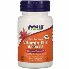 Now Foods Vitamina D3 Alta Potencia 5,000 UI, 240 Cápsulas