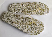 Neues AngebotDamen Damen Flip Flops Gold Leaf Design UK Größe 7-8 Garten Hausschuhe Strand