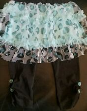 Nwt Buster Brown Leopard Ruffled Skirt w/ Pants w/Buttons Aqua & Black 12 Mos.