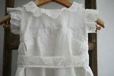 Vintage French CHRISTENING dress cotton GROS GRAIN lace c1950