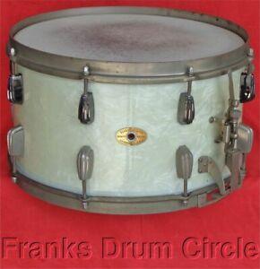 "Vintage Slingerland Radio King 8""x14"" Snare Drum WMP White Marine Pearl 1 Ply"